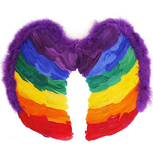 Trixes Rainbow Feather Wings Feder Flügel in den Farben des Regenbogens Einheitsgröße mit Gummibändern Perfekt für LGBT Pride Themenpartys und Events
