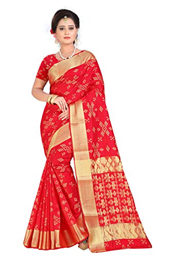 Inheart Women'S Banarasi Silk Saree With Blouse Piece (Sharma_Patola Red_Red)