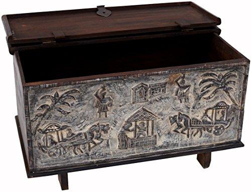Guru-Shop Orissa Truhe, Antik-weiß, Teakholz, 53x91x48 cm, Truhen, Kisten, Koffer
