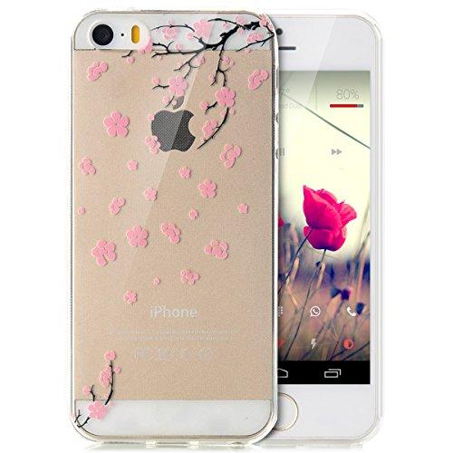 iPhone 5S Hülle,iPhone SE Hülle,iPhone 5 Hülle,iPhone SE 5S 5 Schutzhülle Case,ikasus® TPU Silikon Schutzhülle Case Hülle für iPhone SE 5S 5,Durchsichtig mit Indische Sonne Schmetterling Blumen Muster Rosa Kirschblüten