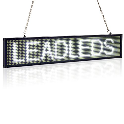 Leadleds Ultra-Thin Design P5mm 16X96 Pixel SMD LED programmierbare Scrolling Nachricht Sign Board, PC Software Change messages (weiß)