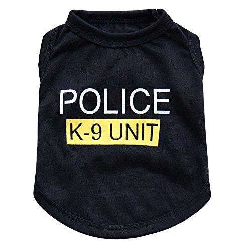 Für Männer Kd-shirts (Kicode Haustier-nette Polizei Weste T-Shirt Mantel BlacClothes Sommer Jacke Bekleidung Kostüme)