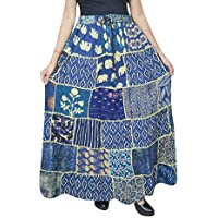 Women Patchwork Skirt Vintage Style Blue Rayon Gypsy A-Line Skirts S/M