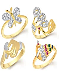 VK Jewels Gold And Rhodium Plated Alloy Ring Combo Set For Women & Girls- COMBO1408G [VKCOMBO1408G]