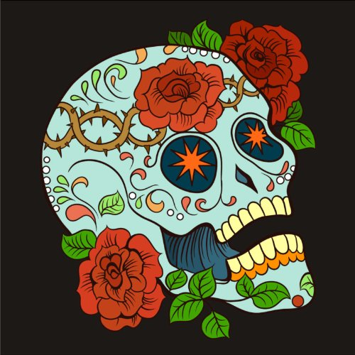 T-Shirt - Frankly Skull 09 - Totenkopf - Sugar Skull - Herren - unisex Schwarz
