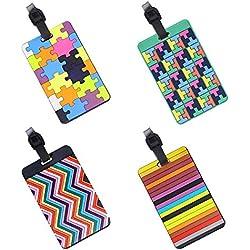 EQLEF® Lot de 4 Etiquettes de bagages PVC Valise étiquettes à bagages