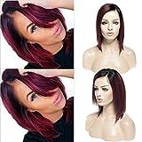 25,4cm brasilianisches Virgin kurze Bob Echthaar Lace Front Perücken klebefreien seidig glatt Perücke Ombré schwarz Wein Rot mit Seite Teil natürlicher Haaransatz