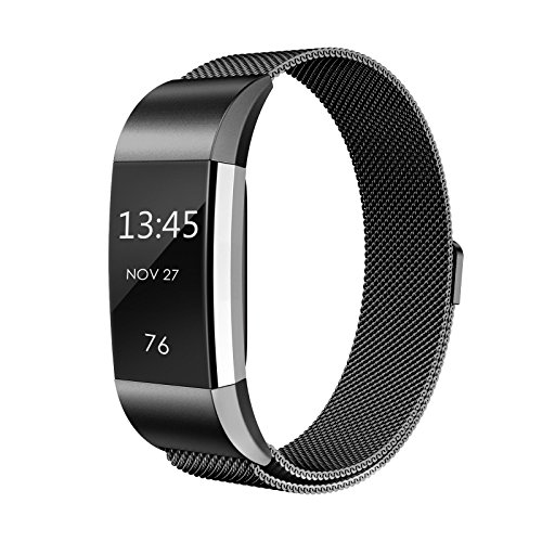 Für Fitbit Charge 2 Armband, eDriveTech Weich Milanese Schlaufe Edelstahl Metallarmband mit Einzigartiger Magnetverriegelung Uhrenarmband Verstellbarem Ersatzband Damen Herren Armbänd für Fitbit Charge 2 Fitness Tracker Zubehör (Schwarz, Groß)