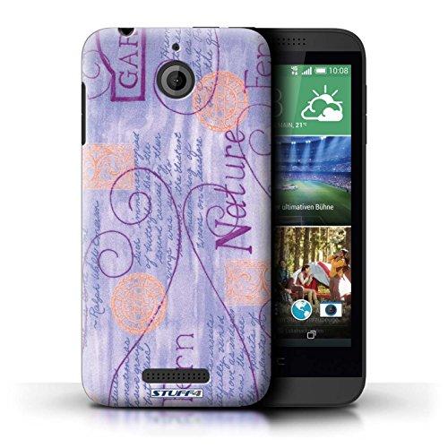 Kobalt® Imprimé Etui / Coque pour HTC Desire 510 / Rose conception / Série Motif Nature Violet / Orange