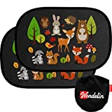 Premium Sonnenschutz von Wendelin - Universal Auto Sonnenschutz für Kinder - Autofenster Sonnenblende mit Tiermotiven - [2 Stück] Selbsthaftender Autosonnenschutz inklusive Tasche