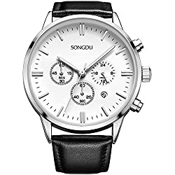 SONGDU Men's Big Face Multi-function Chronograph Quartz Watch With Alloy Watch Case Black Pin Buckle Leather Strap and White Dial Plate--Ideal and Celebrative Gift for Christmas and New Year Sales