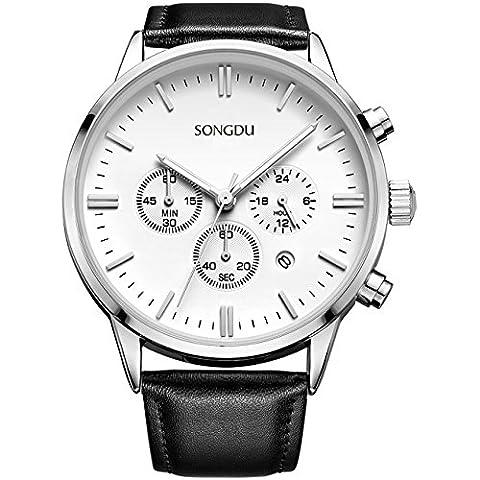 SONGDU Men's Big Face Multi-function Chronograph Quartz Watch With Alloy
