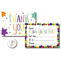 12 x Thank You Note Cards - Fill in The Blanks - Includes Stickers & Green Envelopes - Colourful Star Design for Children