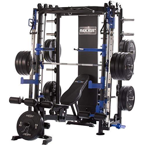Maxxus Multipress 10.1 Station de Musculation Universelle -Power Cage à Squat -Barre d'Haltère Guidée -Banc de Musculation Inclus -Double Barre de Traction Reglable en Hauteur -Charge 250kg