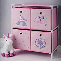 Born To Sparkle Pink Unicorn 2 Tier 4 Drawer Canvas Chest Storage Organiser