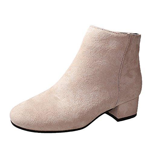 OSYARD Ankle Stiefeletten Wildleder Damen Kurze Boots Elegante Reissverschluss, Frauen Stiefel Flock Stiefeletten Runde Kappe Booties Party Western Stoff Schuhe (235/38, Beige)