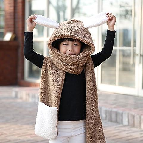 Dngy*lunghe orecchie incantevole sciarpe Inverno Inverno tappi una femmina femmina spessa hat sciarpa 1 guanto-, bambini - luce colore caffè