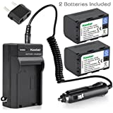 Kastar Battery (2-Pack) And Charger Kit For JVC SSL-JVC50 And JVC GY-HMQ10, GY-LS300, GY-HM200, GY-HM600, GY-HM600E, GY-HM600EC, GY-HM650 Camcorders