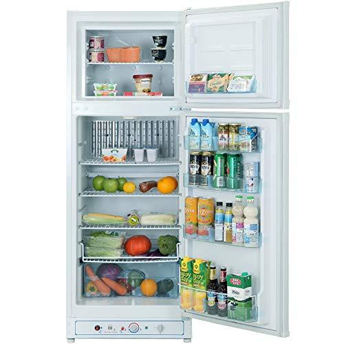 SMAD Gaskühlschrank mit Gefrierfach AC 220V Propan-Kühlschrank mit Gefrierfach Kühlschrank Weiß 265L