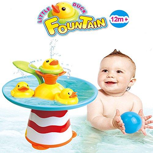 INCHANT Bad-Spielzeug -Duck Rennen mit Auto-Brunnen, Wasserpumpe und 3 Racing Enten, 2 Ocean Bälle, Spielzeug Elektro Badezimmer (Bad Spielzeug Brunnen)