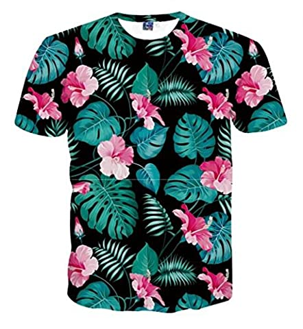 Men's Casual Hibiscus Flower 4D Print Short Sleeve T-shirt Tees
