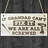 RED OCEAN Grandad Can't Fix It We Are All Screwed Wooden Hanging Plaque