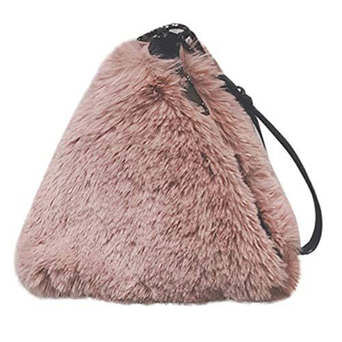Borsa a tracolla donna retro classico vintage moda borsa della peluche di modo pacchetto serale per borsa a tracolla con tracolla a catena da viaggio fit shopping partito (taglia unica, rosa)