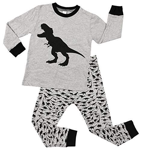 Charmo Mädchen Pyjamas Halloween Dinosaurier Schlafanzug Jungen Baumwolle Langarm Nachtwäsche Kinder 2 Stück Herbst Winter PJS Grau 2 Jahre