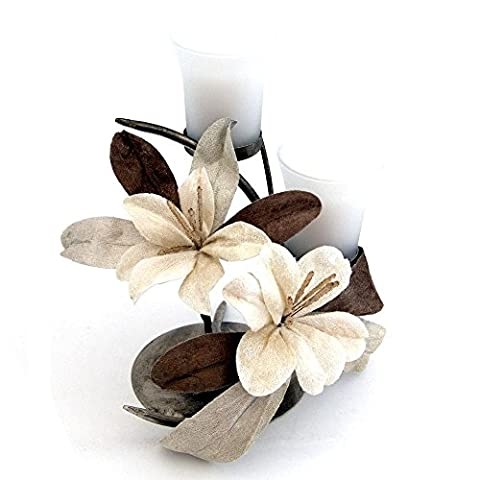 Candle Holder Decorative Dining Table Centrepiece Gift Idea For Women By Clair De Lune - Marsala Flower Theme - Duo Candle - Brown / Cream - Made From Glass / Metal /