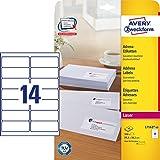 Avery Zweckform L7163-40 Adress-Etiketten (A4, 560 Stück, 99,1 x 38,1 mm) 40 Blatt weiß