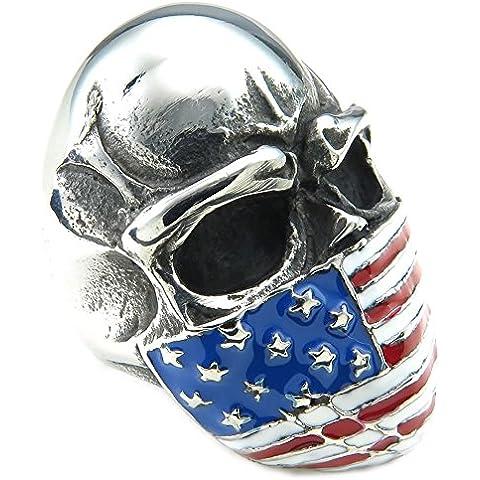 KONOV Joyería Anillo de hombre, Biker Clásicos Gótico Bandera Americana Calavera Cráneo, Acero inoxidable, Color rojo azul plata (con bolsa de regalo)