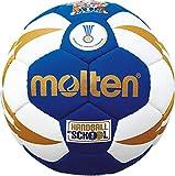 Boje Sport Palla da Pallamano Metodo Squeezy per Bambini, in Pelle Sintetica e Morbida - Colore: Blu/Bianco/Oro, Ø 150 mm - 47 cm