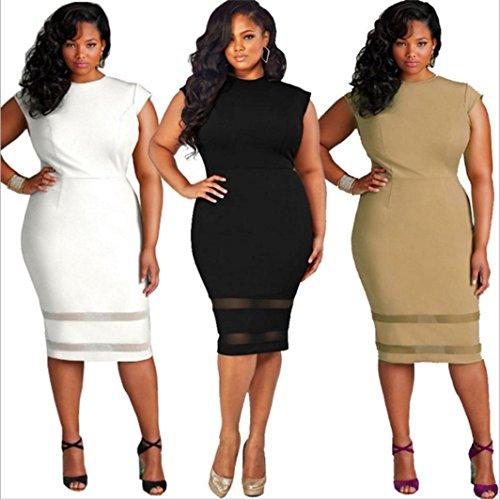 Femmes Robe,Tonwalk Femmes Taille Plus Design Robe sans manches en satin Fête Mini Blanc
