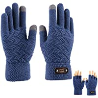 ZXQY Winter Knit Thicken Warm Full Finger Half Finger Gloves Outdoor Sports Gloves Touch Screen Wool Long Finger Gloves