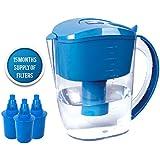 wellblue Alkaline Wasser-Krug, 3,5l–Pure Gesundes Wasser Ionisator–3Filter-Kartuschen enthalten–PH Test Streifen frei von Bisphenol A–Gesundes, Reinigen Giftfrei Wasser in Minuten–Boost Ihre Energie und Immunsystem blau