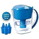 Caraffa per acqua alcalina BUKO da 3,5 litri, ionizzatore dell'acqua salubre, 3 cartucce di filtro incluse, striscia test PH BPA, acqua tossica sana e pulita in pochi minuti, potenzia la tua energia e il sistema immunitario (Blu)