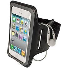 igadgitz Schwarz Reflektierende Anti-Rutsch Neopren Sports Armband Oberarmtasche Tasche Schutz Hülle Etui Case für Apple iPhone SE, 5S, 5C & 5 4G LTE