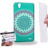 Case88 [Huawei Ascend G630] Gel TPU Carcasa/Funda & Tarjeta de garantía - Art Fashion Turquoise Dream Mandala Cross Art0789