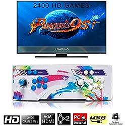 [2400 Jeux Classiques]Console de Jeux vidéo, SeeKool 4 Joueurs Pandora's Box 9s+ Joystick Arcade Console de Jeux Retro, 1280 * 720 Full HD, Bouton personnalisé, Supporte PS3, Output de HDMI et VGA
