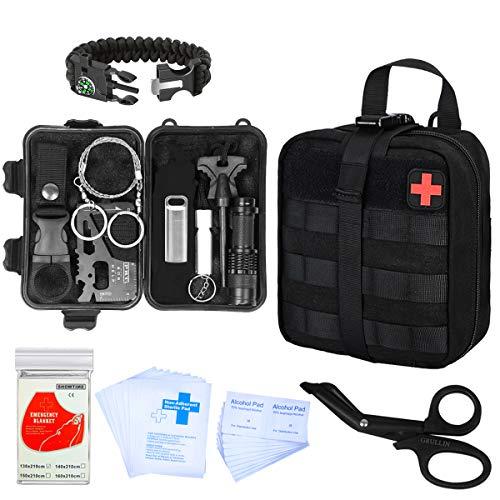 GRULLIN Tactical Survival Kit, 43 in 1 Notfalldecke, Armband, Pillendose, EDC-Karte, Feuerstarter, Seilsäge, MOLLE Pouchc