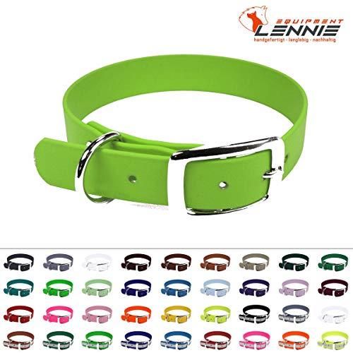 LENNIE BioThane Halsband, Dornschnalle, 16 mm breit, Größe 30-36 cm, Apfelgrün, Aufdruck möglich