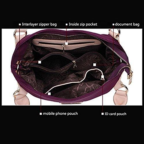 Aisi estremamente elegante borsa Shine Pure Color Borsa importati Nylon impermeabile borsa a tracolla per donna, Black (nero) - kb-21 Black