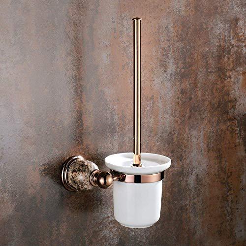 QiXian Toilettenbürste Abfallbehälter Set Vintage Marmor Basis Toilettenbürstengarnitur Europäische Massivem Messing Poliert Toilettenbürstenhalter Bad Hardware Stark Robust - Marmor Aus Massivem Messing