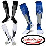 (3 pairs)Compression Socks / Stockings for Men & Women,Better Blood Circulation, Prevent Blood Clots, Boost Stamina,Circulation, Reduced Fatigue,Speed Up Recovery BEST Graduated Athletic Fit for Run