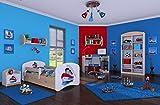 naka24 6 - Teiliges Set Jugendzimmer Kindermöbel Zimmermöbel Schiff mit Kinderbett (160x80, Schiff)