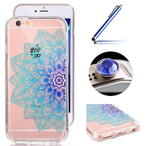 iPhone 6 Plus Coque,iPhone 6S Plus Housse Diamant,ETSUE Mode Luxe Miroir Bling Glitter iPhone 6 Plus Silicone Coque Luxueux Crystal Scintiller Doux Coque Bague Etui Rose Romantique Élégant Fleur Couro Fleur Mandala Bleu