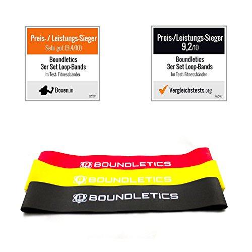 Preisvergleich Produktbild Mehrfach prämierter Testsieger: 3er Set Fitnessbänder - verschiedene Gymnastikbänder mit Transportbeutel für ein gezieltes Bein- und Armtraining - Ideal für Yoga, Reha-Sport und Gymnastik - Fitnessband - Loops