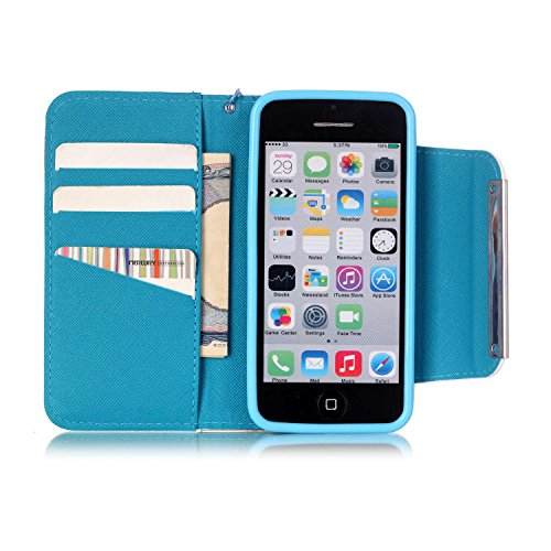 iPhone 5C Hülle, ISAKEN iPhone 5C Hülle Muster, Handy Case Cover Tasche for iPhone 5C, Bunte Retro Muster Druck Flip Cover PU Leder Tasche Case Schutzhülle Hülle Handy Tasche Etui Schale mit Standfunk Blumen Mehrfarbig