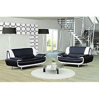 Ensemble canapé 3+2 places design Noir et Blanc MUZA