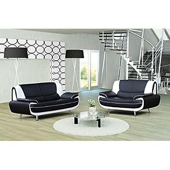 ensemble canap 32 places design noir et blanc muza - Canape Blanc Design